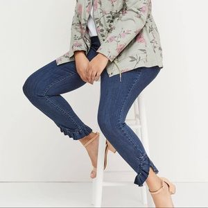 Plus Size Stretch Denim with Ruffled Details